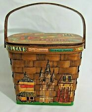 MINT VINTAGE BASKET PURSE NEW ORLEANS THEME & QUILTED INTERIOR