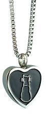 Cat Heart Urn Pendant - Memorial Ash Keepsake - Cremation Jewellery