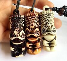 12 Necklace Imitation Carved Tiki God Charm Pendant Necklace Amulet Biker Gift