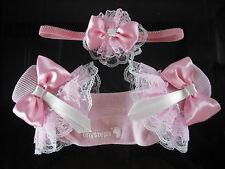 Le ragazze rom Frilly calzini in rosa con Abbinamento Fascia Capelli Taglie 3 - 5 1/2