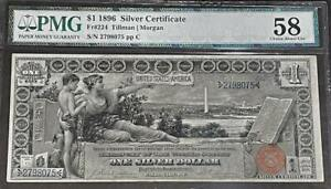 1896 $1 Educational Silver Certificate PMG About Uncirculated 58 FR # 224