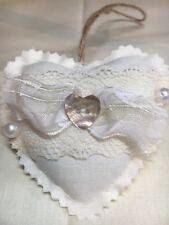 Vintage Fabric Shabby Chic Hanging Heart Wedding Nursery Door Hanger Cream Lace