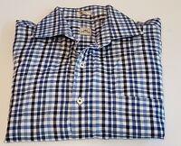 PETER MILLAR Men's Large  Blue Check Long Sleeve Button Front Cotton Shirt 33-5