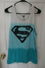 Marvel Superman sleeveless shirt white fade to aqua blue large Size Small