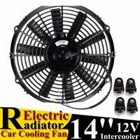 "14"" Universal 12V 80W Pull/Push Straight Black Electric Cooling Radiator Fan"