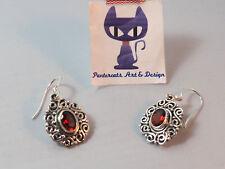 Echte Rote Granat Ohrringe Ohrhänger 925 Sterling Silber Vintage 50 Granate