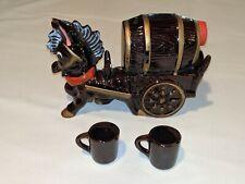 Vintage Sonsco Glazed Ceramic Donkey & Cart Decanter with 2 Cups Japan Horse Bar
