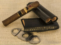 Black Embossed Crocodile Style Leather 2 Tubes Cigar Case Humidor w/ Cutter