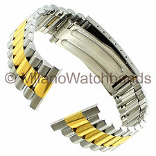 22mm ROWI Straight End Two Tone Stainless Steel Fold Over Clasp Watch Band
