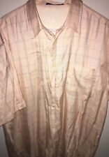 Johnnie Walker Mens Large 85% Silk Plaid Button Front Shirt Pink