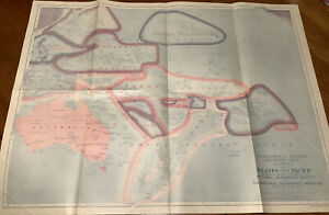 Original National Geographic Map 1921 Pacific Islands Sovereignty