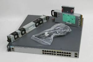 HP J9573A 3800-24G-PoE-2SFP Network Switch w J9580A Unit & Cooling Fans NEW