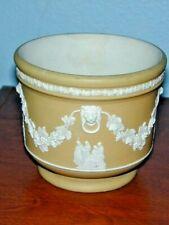 "Wedgwood yellow dipped jasperware 4"" jardiniere or plant pot, white relief"