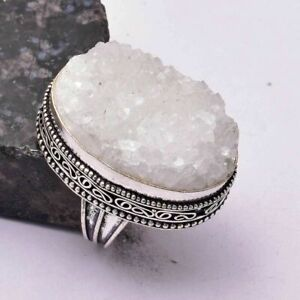 White Suger Druzy Handmade Antique Desgin Ring Jewelry US Size-8.5 AR 30905