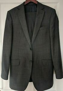NWT AUTHENTIC MARKS AND SPENCER PINSTRIPE CHARCOAL WOOL SUIT. UK 38R - IT 48R
