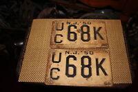 Antique Retired NJ License Plates-1950-Matching Pair-UC68K-Automobile