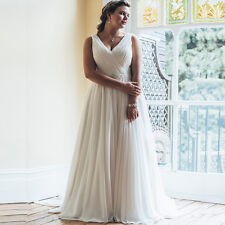 Plus Size Beach Chiffon Bridal Gown A-line Wedding Dress Size 18 20 22 24 26 28+