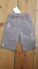 NEW.BHS Bambini girls 0-3mths mocha cotton, embroidered, jersey lined trousers
