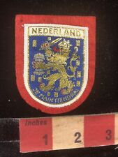 Woven Front Red Felt Back Version NEDERLAND Coat Of Arms Netherlands Patch 96AH