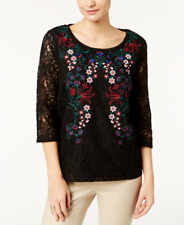 Charter Club Black Red Floral Embroidered Lace Scoop Neck Blouse M