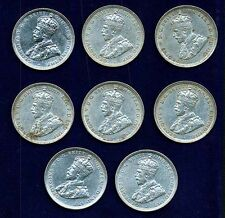 AUSTRALIA GEORGE V 1916-M 1 SHILLING SILVER COINS, XF, GROUP LOT OF (8)