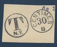 T N.Y. 20 CENTIMES POSSIBLY FRANCE POSTMARK PIECE ON PAPER (NO STAMP)