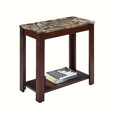 ESPRESSO FINISH CHAIR SIDE END TABLE WITH FAUX MARBLE TOP