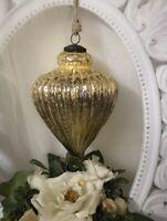 Weihnachtskugel Glas Gold Christbaumschmuck shabby chic Vintage 13x17cm