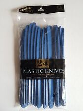 Plastic Cutlery Quality Knives Tableware Pack of 24 Amscan Marine Blue