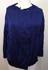 SATCH Royal Blue Drawstring Neck Long Sleeve Silky Feel Bomber Style Jacket 6 8