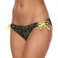 SO Junior Size XS S M XL Black Neon Yellow Drawstring Hipster Bikini Bottom Swim