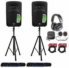 "2) Mackie SRM350V3 1000w 10"" Powered PA Speakers+(2) Hydraulic Stands+Headphones"