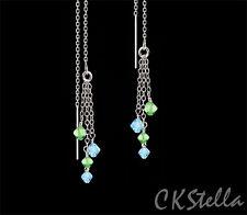 Ear Thread Threader Earrings w Swarovski *Ckstella* Blue & Green Sterling Silver