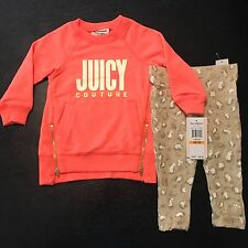 Juicy Couture baby girl Coral Cheetah Glitter Tunic & Legging Set zipper 12m