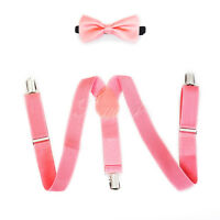 Coral Pink Suspender and Bow Tie Set for Baby Toddler Kids Boys Girls (USA)