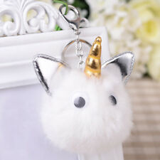 Cute Plush Ball Unicorn Key Chain Women Bag Pendant Decoration Car Keyring Grace
