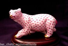 "HEREND, POLAR BEAR WALKING PORCELAIN FIGURINE, 6"",  RASPBERRY, FLAWLESS, $400"