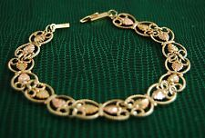 Vintage 14K & 10K Yellow Gold Filigree / Lace Cutout Open Link Floral Bracelet
