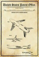 US Patent lenkbare Rakete Guided Missile 1954 Blechschild Tin Sign 20 x 30 cm