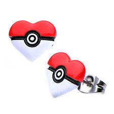 Pokemon Pokeball Heart Shape Stud Stainless Steel Earrings