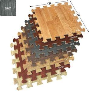 "Sorbus Wood Grain Foam Interlocking Floor Mats 3/8"" Thick - 16 Tiles - 16 SQ FT"