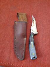 VINTAGE SCHRADE+ KNIFE  W/ LEATHER SCHEATH  U.S.A. PRE OWNED H1