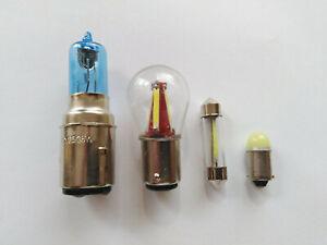 (V2) LAMBRETTA 12v Halogen,CoB LED  SUPER WHITE  White  Bulb set: Li,Sx,Tv,Gp