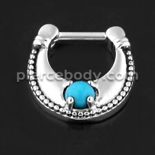 Surgical Steel Plain Dotted Turquoise Stone Jeweled Septum Clicker PerPiece Only