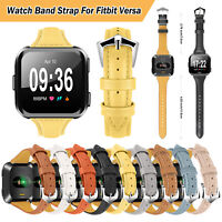 For Fitbit Versa Genuine Leather Wristband Watch Band Strap Bracelet Replacement