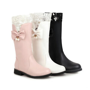 Womens Fashion Round Toes Flat Heels Winter Mid-Calf Snow Boots Casual Bow Shoes