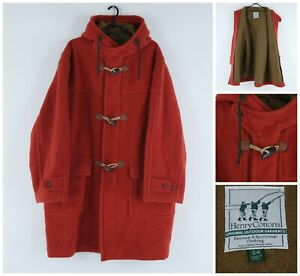 HENRY COTTONS Vintage Mens Orange Full Zip Italy Duffle 100% Wool Coat SIZE XL