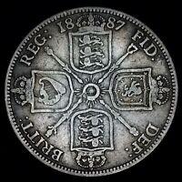 1887 Great Britain Silver Florin  Queen Victoria  KM# 762  VF  Free Shipping