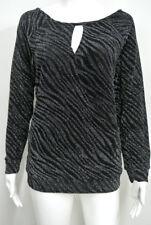 NWT Jennifer Lopez JLO Black Silver Shimmer Crossover Keyhole Top Shirt 0X L