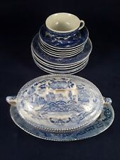 VINTAGE JAPAN BLUE WILLOW CHILD'S TEA SET WITH SOUP TUREEN AND TUREEN SAUCER